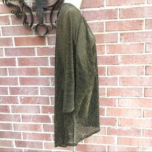 LuLaRoe Sweaters - LuLaRoe Sheer Metallic Gold Dark Brown Duster